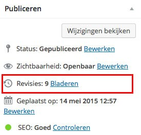 Revisies in een WordPress website