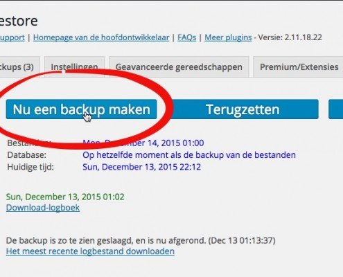 Backup WordPress website maken