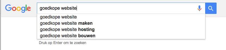 Google zoektermen onderzoek