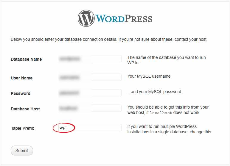 Table Prefix WordPress