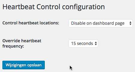 HeartBeat Control WordPress plugin