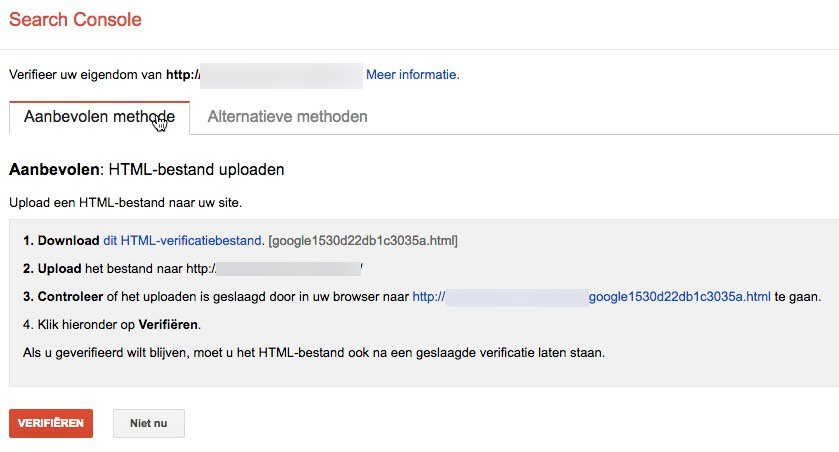 Verificatie Google Search Console