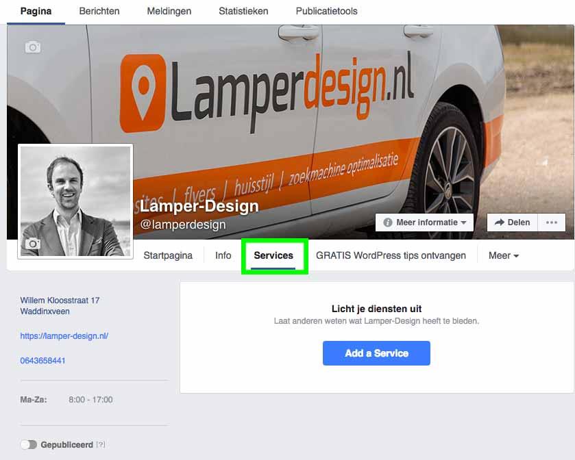 Diensten toevoegen Facebook Bedrijfspagina