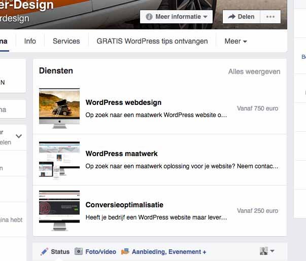 Facebook Bedrijfspagina Diensten