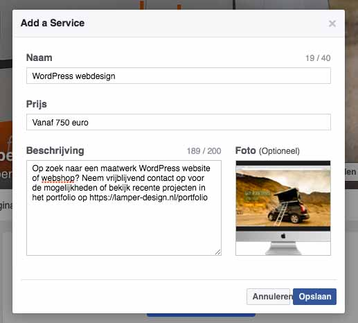Omschrijving Facebook Diensten