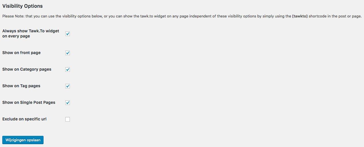 Instellingen WordPress tawk.to livechat