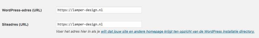 Home en site-url WordPress instellen
