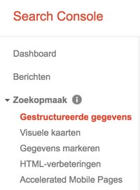 Gestructureerde gegevens Google Search Console