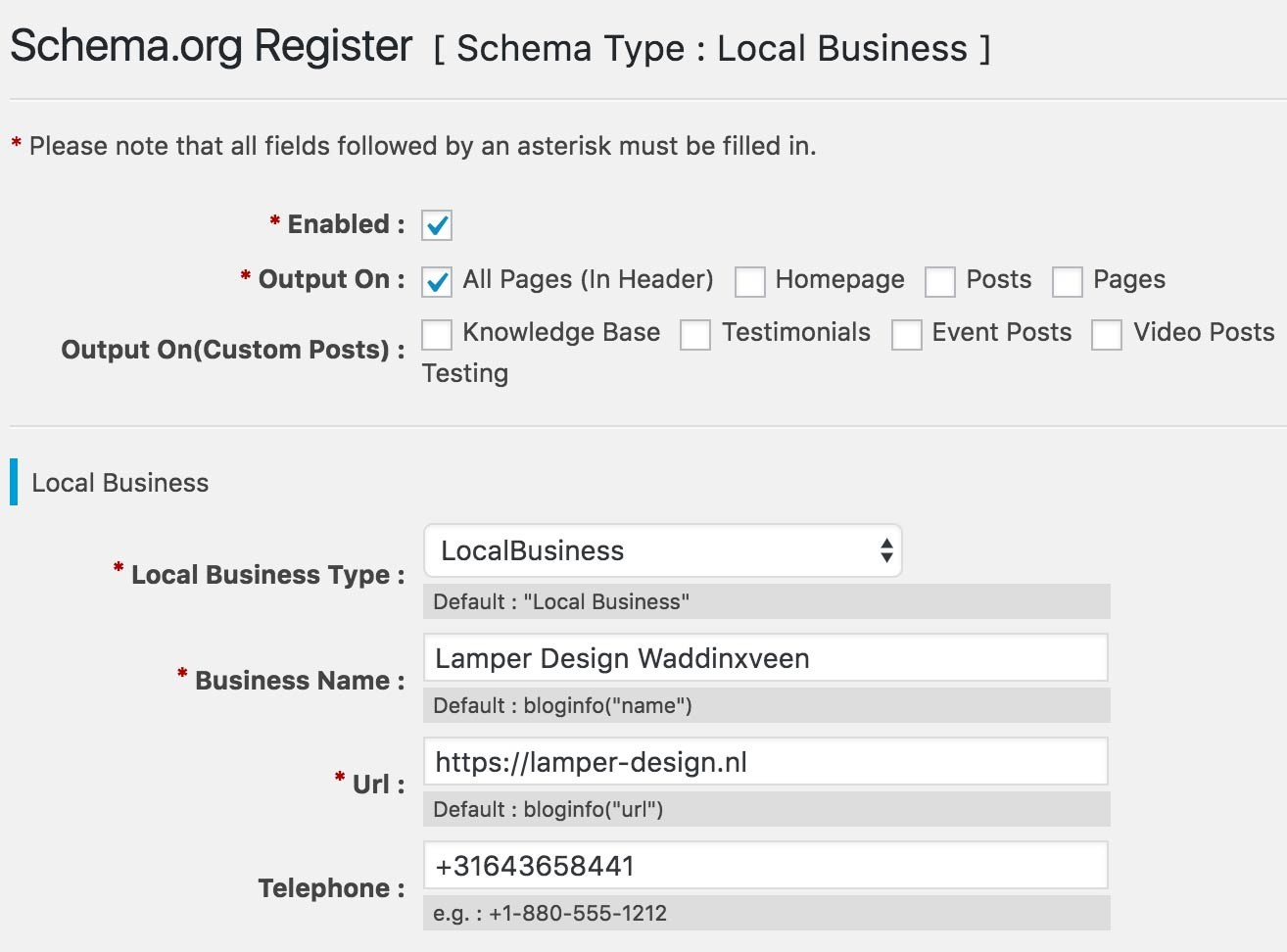 Schema.org settings WordPress