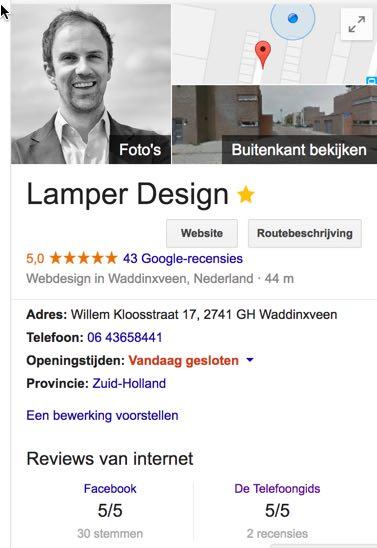 Google mijn bedrijf Lamper Design