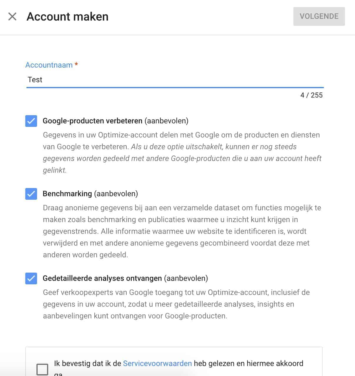 Account maken Google Optimize