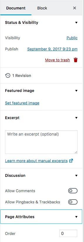 Sidebar Gutenberg WordPress