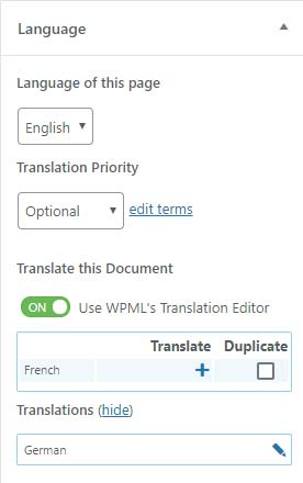 WPML language box