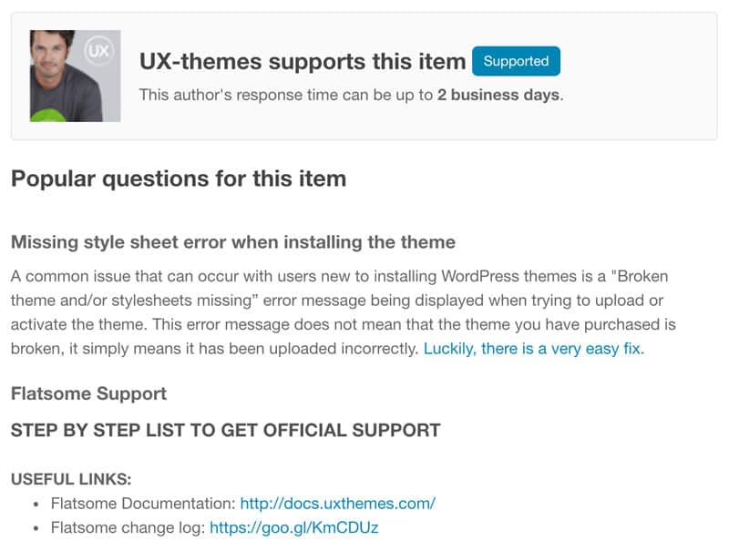 Support WordPress theme themeforest