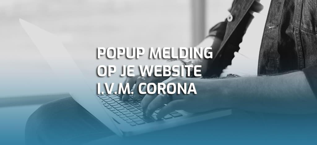 Popup melding website corona