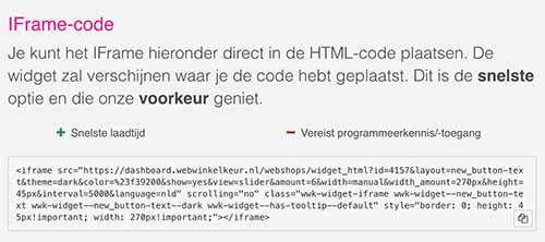 Iframe code webwinkelkeur